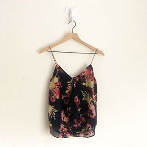 Collective Concepts Black Floral Tank Size Medium